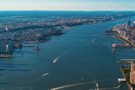 Aerial view of the Hudson River between Manhatten and New Jersey