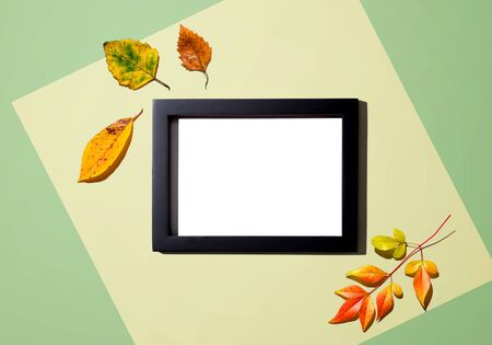Autumn leaves with blank photo frame - overhead view flat lay