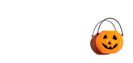 Halloween orange pumpkin - overhead view flat lay Stock Photo