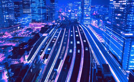 Aerial view of a large train station in Tokyo, Japan synth wave style Reklamní fotografie