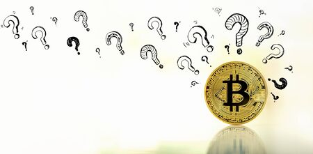 Question marks with gold bitcoin cryptocurrency coin