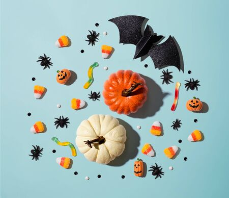 Pumpkins with Halloween decorations - overhead view flat lay