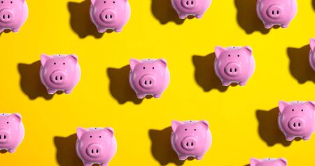 Piggy bank pattern - overhead view flat lay Stok Fotoğraf