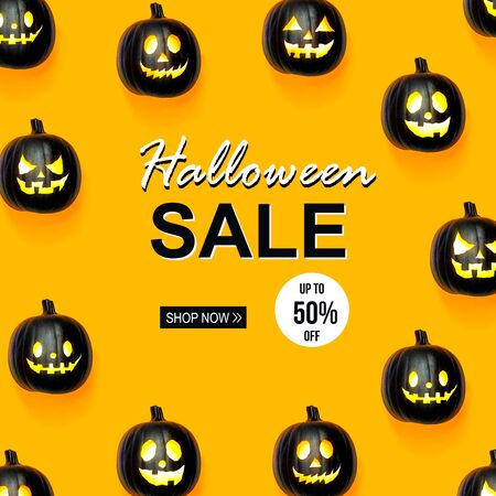 Halloween sale with black colored pumpkin lanterns Stok Fotoğraf