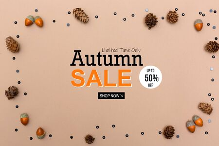 Autumn sale theme message with autumn themed background border