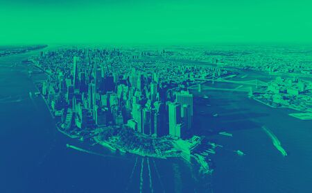 Aerial view of Lower Manhattan, New York with green duotone with duotone Фото со стока