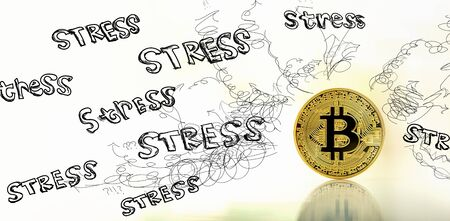 Stress theme with gold bitcoin cryptocurrency coin Stock fotó