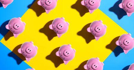 Upside down piggy bank pattern - overhead view flat lay