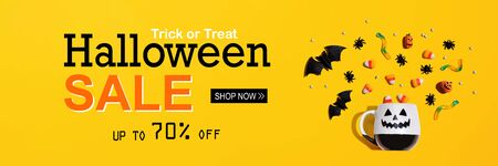 Halloween sale banner with Halloween ghost mug - flat lay
