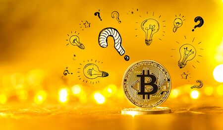 Question with light bulbs with gold bitcoin cryptocurrency coin