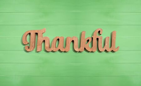 Thankful wooden text from above - overhead view Stockfoto