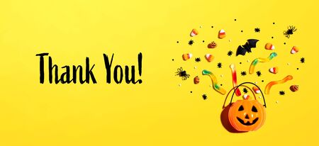 Thank you message with Halloween pumpkin and decorations Reklamní fotografie