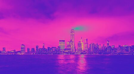 Lower Manhattan skyline and the Hudson river as seen from Jersey City funky gradient 스톡 콘텐츠