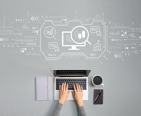 Stock trading concept with person using a laptop Stock fotó