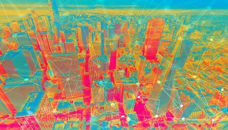 Technology neural network connectivity gradient San Francisco background Stock Photo - 131362750