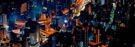 Aerial view of a big highway intersection in Tokyo, Japan 版權商用圖片