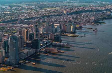 Aerial view of the Hudson River between Manhatten and New Jersey Фото со стока - 131363820