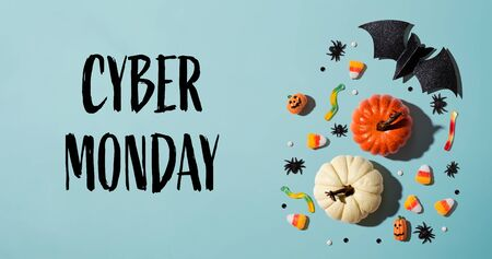 Cyber Monday with Halloween theme background - flat lay