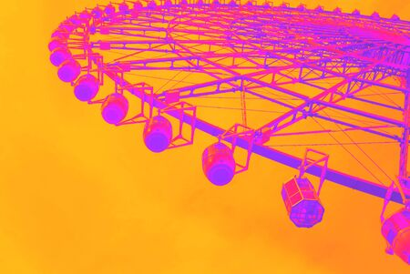 Retro style bright multi colored ferris wheel synth wave style
