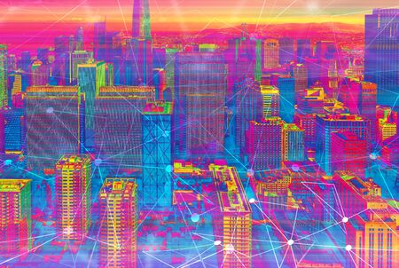Technology neural network connectivity gradient San Francisco background Stock Photo - 131426443