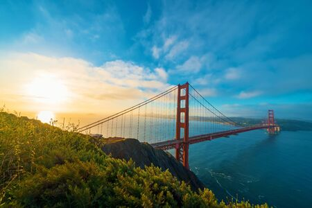 San Franciscos Golden Gate Bridge at sunrise from Marin County
