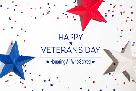 Veterans day message with red and blue star decorations