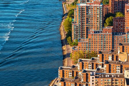 Aerial view of Roosevelt Island in New York City