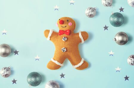 Christmas gingerbread with ornaments - overhead view flat lay