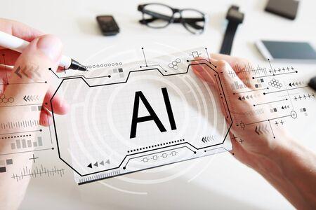 Concept d'IA avec un homme écrivant dans un cahier