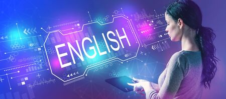 English concept with business woman using a tablet computer