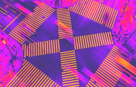 Aerial view of traffic crossing a big intersection in Ginza, Tokyo, Japan at night synth wave style 스톡 콘텐츠 - 132178530