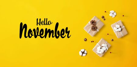 Hello November message with gift boxes with cottons and pine cones