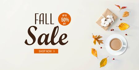 Fall sale banner with autumn theme with coffee and gift box