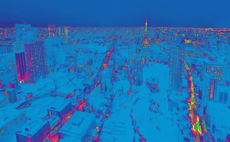 Aerial view of the Tokyo cityscape at night synth wave style 스톡 콘텐츠 - 132177820