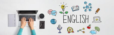 Learning English concept with person using a laptop computer
