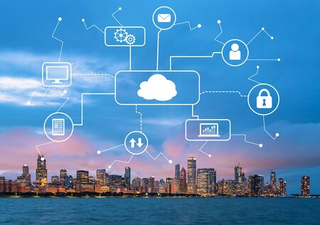 Cloud computing with downtown Chicago cityscape skyline with Lake Michigan Stock fotó