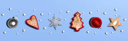Collection of Christmas ornaments - overhead view flat lay