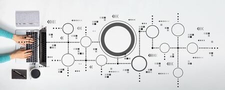 Connected circles chart with person using a laptop