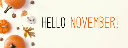 Hello November message with autumn pumpkins with leaves Stockfoto