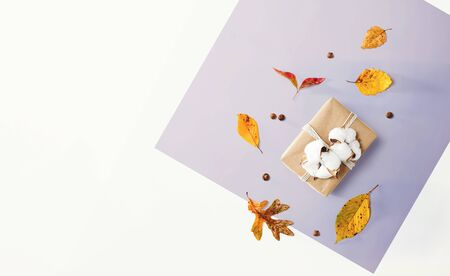 Gift box with autumn theme - overhead view flat lay