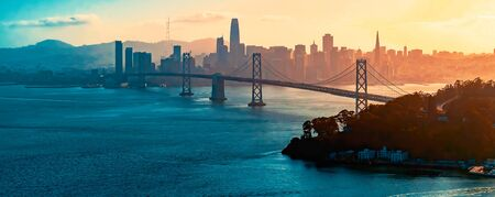 Aerial view of the Bay Bridge in San Francisco, CA 스톡 콘텐츠