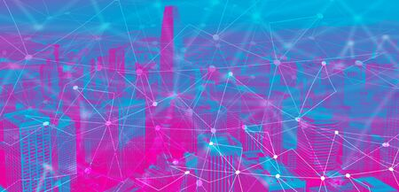 Technology neural network connectivity gradient San Francisco background Stock Photo
