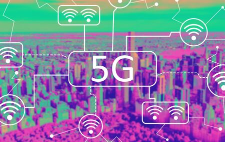 5G network with aerial view of central park and midtown Manhattan Stock Photo