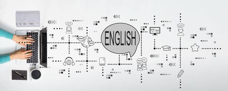 English theme with person using a laptop
