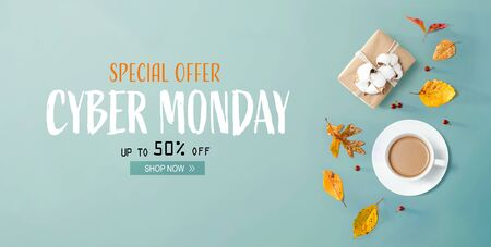 Cyber Monday banner with autumn theme with coffee and gift box Standard-Bild - 132586500