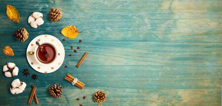 Autumn theme with cinnamon tea - flat lay Standard-Bild