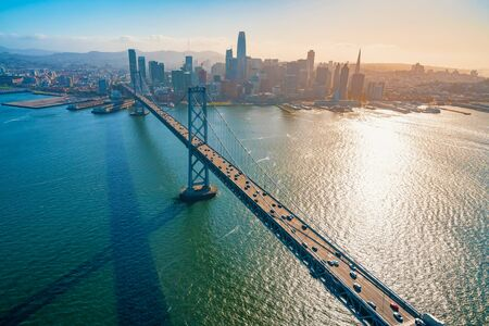 Aerial view of the Bay Bridge in San Francisco, CA Фото со стока