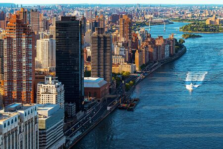 Aerial view of East River and Manhattan in New York City