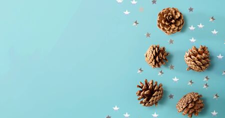 Christmas pinecones with star confetti - flat lay