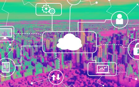 Cloud computing with aerial view of central park and midtown Manhattan